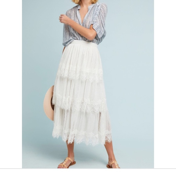 Anthropologie Dresses & Skirts - Tiered Maxi with Lace Trim.